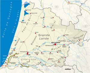 Carte du département des Landes, 40